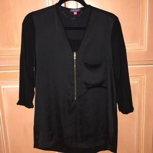 Vince Camuto zip front 3/4 sleeve blouse SzM